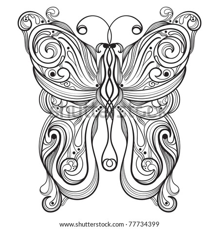 vector monochrome butterfly with unique pattern
