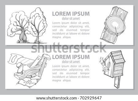 Vector Monochrome Card Or Banner Coloring Book With Carpentry Tools And A Birdhouse