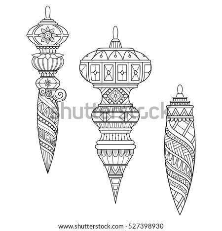 Vector Monochrome Christmas Decorations. Set of Toys. New Year Background