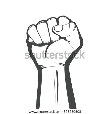 Vector monochrome fist. - stock vector