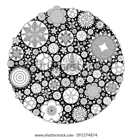 Colouring Book For Grown Up Flower Design Coloring Stock Vector 389279434