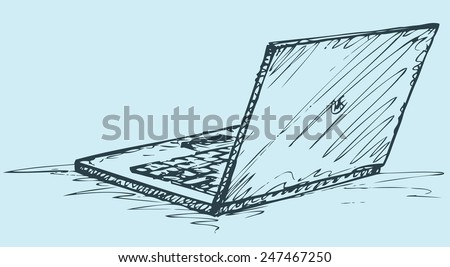 Vector monochrome freehand sketchy ink linear drawn backdrop in doodle style pen on paper with space for text. Open laptop. Rear view close-up - stock vector