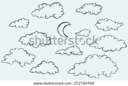 Vector monochrome freehand sketchy ink outline drawn backdrop in kid scribble style pen on paper with space for text. Collection of cute soft lush fluffy cumulus clouds and beaming luna in evening sky - stock vector