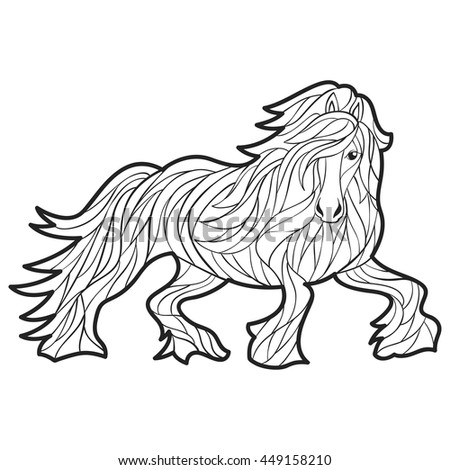 Vector monochrome hand drawn illustration of horse. Coloring page with high details isolated on white background. Boho style. Design for T-shirt, greeting card or poster.