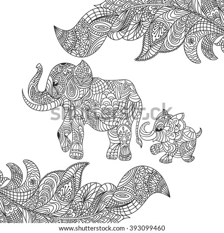 vector monochrome hand drawn zentagle illustration of an elephant and baby elephant coloring page with