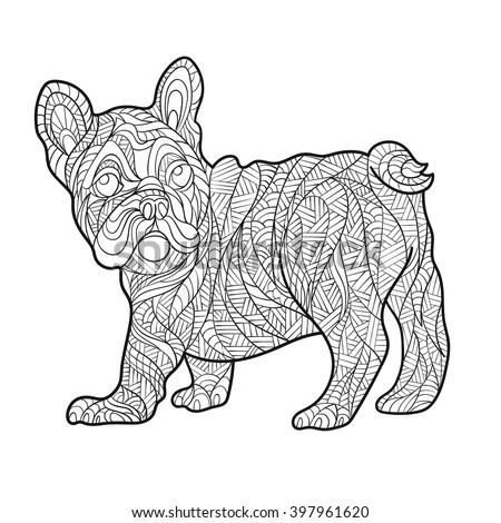 Vector Monochrome Hand Drawn Zentagle Illustration Of French Bulldog Coloring Page With High Details Isolated