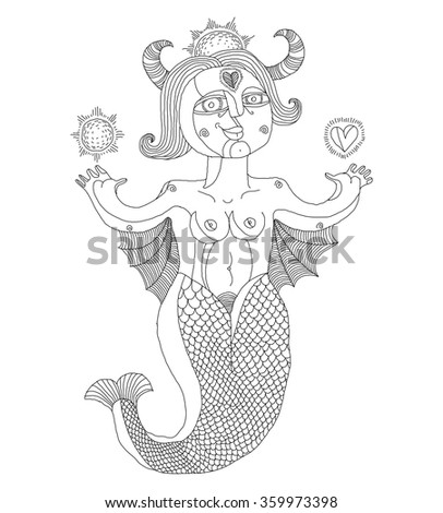 Vector monochrome illustration of bizarre creature, nude woman with wings, animal side of human being. Goddess conceptual hand drawn allegory image.  - stock vector
