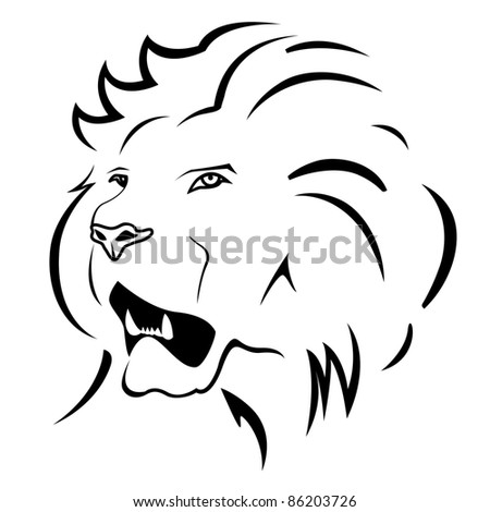 Vector monochrome illustration of lion. Logo template