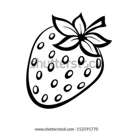 Vector monochrome illustration of strawberries logo.  Many similarities to the author's profile - stock vector