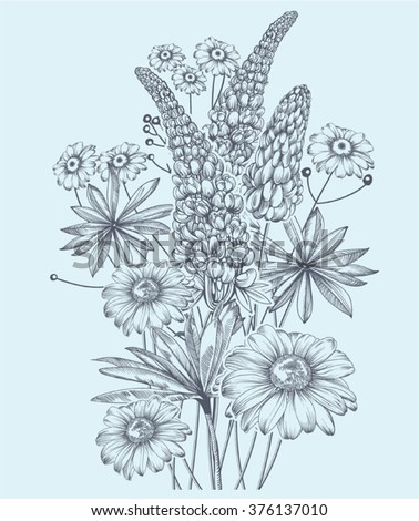 Vector monochrome image of bouquet wildflowers in vintage style - stock vector