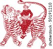 vector monochrome indian tiger rider - stock vector