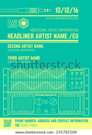 vector monochrome light green club poster template with sound equalizer and amplifier - stock vector