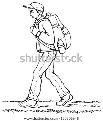Vector monochrome line drawing. Traveler in a cap, jacket and jeans with a heavy backpack and a bottle of water goes down the path - stock vector