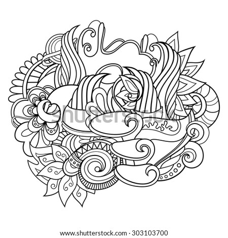 Vector Monochrome Oriental Doodle. Black And White Background. Design Element