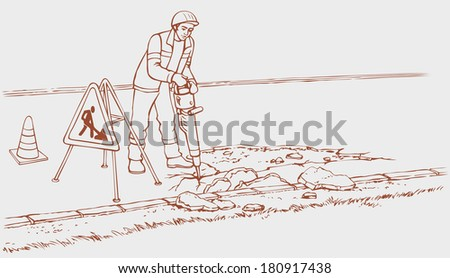 Vector monochrome outline drawing background. Roadworks illustration. Cartoon construction worker in overalls and helmet with jack hammer removes asphalt, so the road repair - stock vector