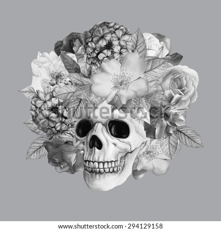 Vector monochrome picture. Hand-drawn black and white watercolor human skull and roses. Beautiful flowers and skeleton head isolated on a gray background - stock vector