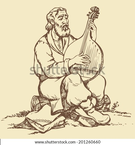 Vector monochrome picture handmade style drawing pen on paper. Old Ukrainian itinerant musician with a beard in national dress sitting on a log and pluck the strings of bandura - stock vector
