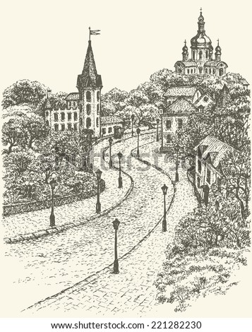 Vector monochrome sketch of the urban landscape of the old street. St. Andrew's Church and the Castle of Richard on Andrew Descent in Kiev, Ukraine - stock vector
