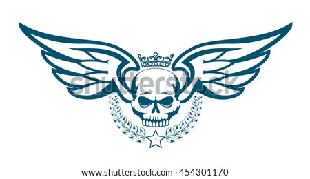 Vector monochrome tattoo or logo with crowned skull, wings, laurel wreath. Isolated on white background. Royal design for air force, biker or MMA fighter print - stock vector