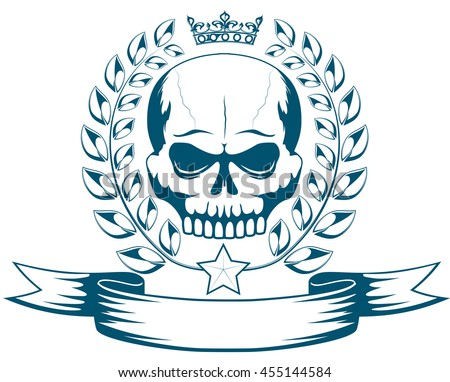 Vector monochrome tattoo or logo with skull, crown, laurel wreath and ribbon. Isolated MMA emblem on white background. Design for t-shirt print - stock vector
