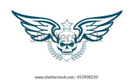 Vector monochrome tattoo or logo with skull, wings, laurel wreath and star. Isolated on white background. Design for air force, biker or MMA fighter print - stock vector