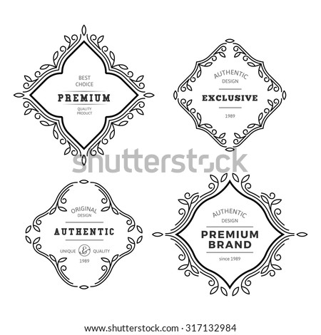 Vector Monogram Decorative Frame. Vintage Linear Flourishes Elegant Ornaments. Classic Template Elements for Labels, Emblems, Logos and Package Design. - stock vector