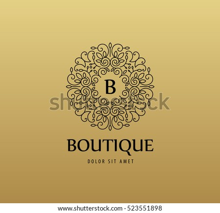 Vector monogram luxury linear logo, company icon. Decorative frame for Restaurant Menu, Hotel, Jewelery, Fashion, Label, Sign, Banner, Badge.