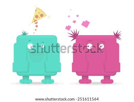 Vector monster couple in love, funny cartoon for St. Valentines Day  - stock vector