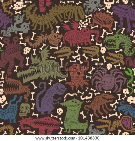 Vector monster seamless pattern - stock vector