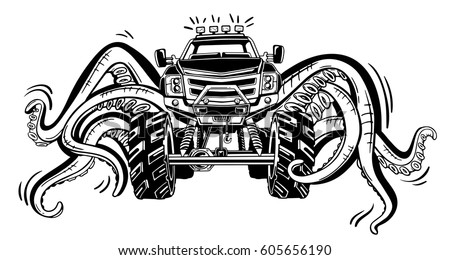 vector monster truck tentacles mollusk mystical stock vector 605656190 shutterstock. Black Bedroom Furniture Sets. Home Design Ideas