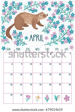 Vector Monthly Calendar Cute Ferret April Stock Vector ...