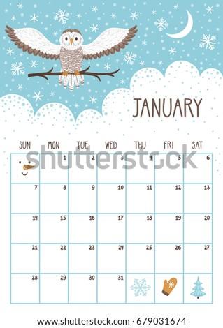 Vector Monthly Calendar Cute Owl January Stock Vector 679031674 ...