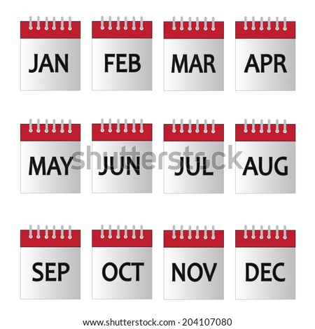 Vector months and background - stock vector
