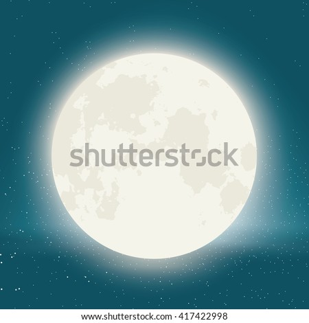 Vector moon with stars in background.