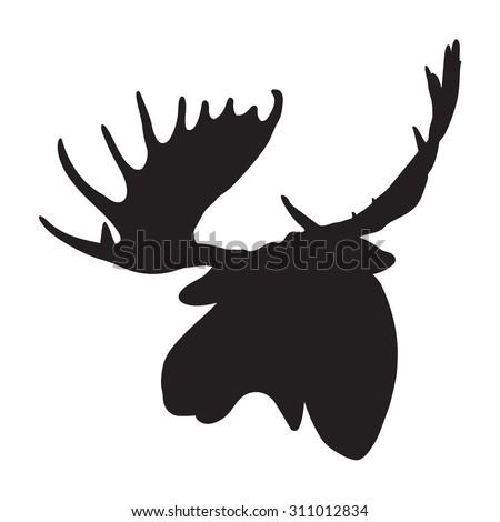 vector moose head - stock vector