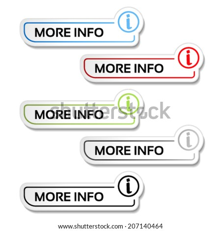 Vector more info buttons with symbol of i - labels, stickers on the white background - stock vector