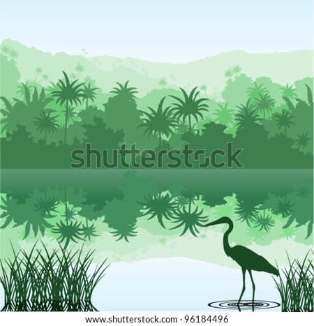 Vector Morning in Jungle Lake with Heron - stock vector