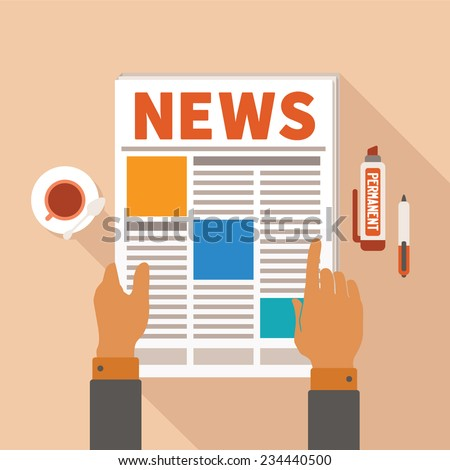 Vector morning newspaper reading concept - stock vector