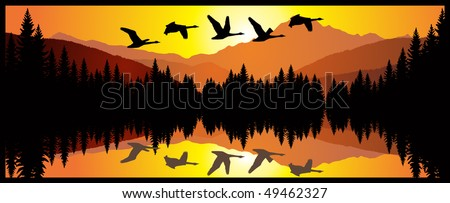 vector morning on  lake with swans in mountains - stock vector