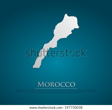 vector Morocco Map card paper on blue background, high detailed