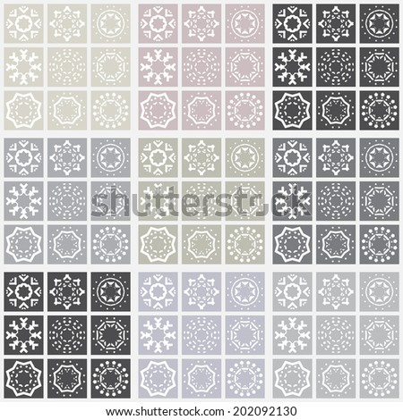Vector mosaic background with simple ethnic decorative elements. Seamless geometric pattern. - stock vector