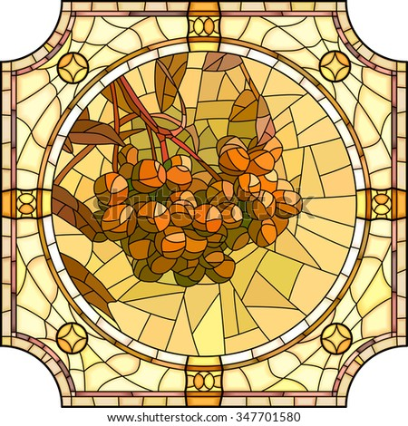 Vector mosaic of brightly orange rowan branch with berries in round stained-glass window frame. - stock vector