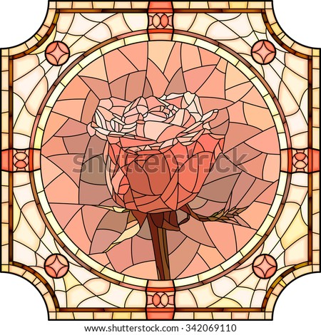 Vector mosaic of brightly pink rose in round stained-glass window frame. - stock vector