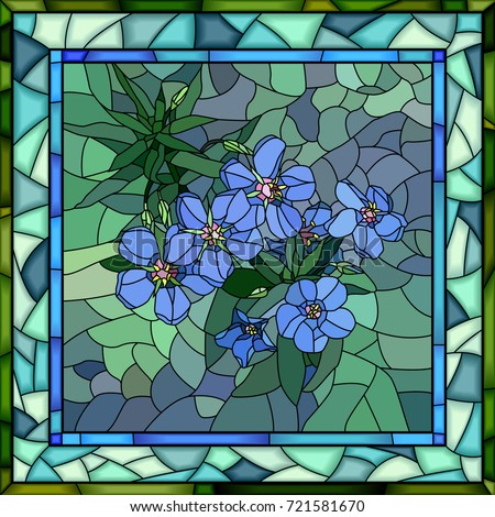 Vector Mosaic Of Flowers Blue Anagallis In Square Stained Glass Window Frame