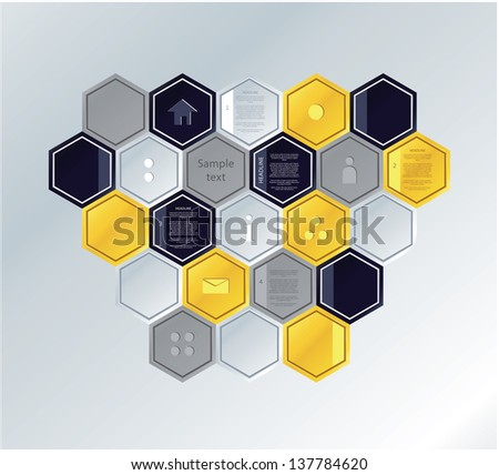 Vector mosaic template. Colorfully polygons with space for your text. Simple puzzle, can be composed to many different shapes. - stock vector