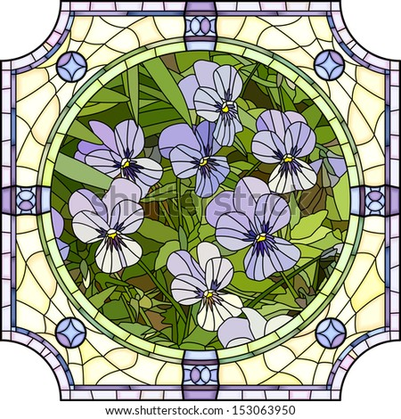 Vector mosaic with large cells of brightly purple pansies with buds in round stained-glass window frame. - stock vector