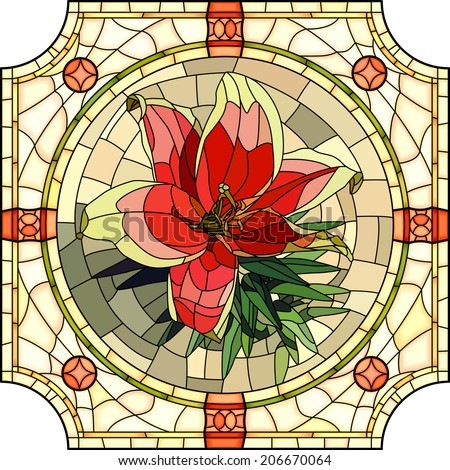 Vector mosaic with large cells of brightly red lily in round stained-glass window frame. - stock vector
