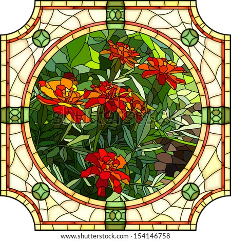 Vector mosaic with large cells of brightly red marigold with buds in round stained-glass window frame. - stock vector