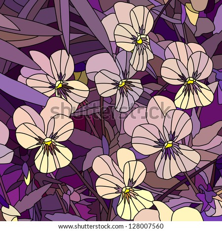 Vector mosaic with large cells of violets (Pansy) on purple.