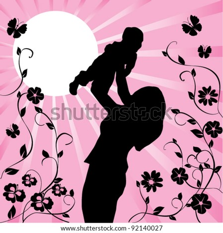 vector mother and child - stock vector